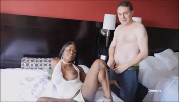 Young white girl Blue Belle have a wild time with fat sex toy in white stockings